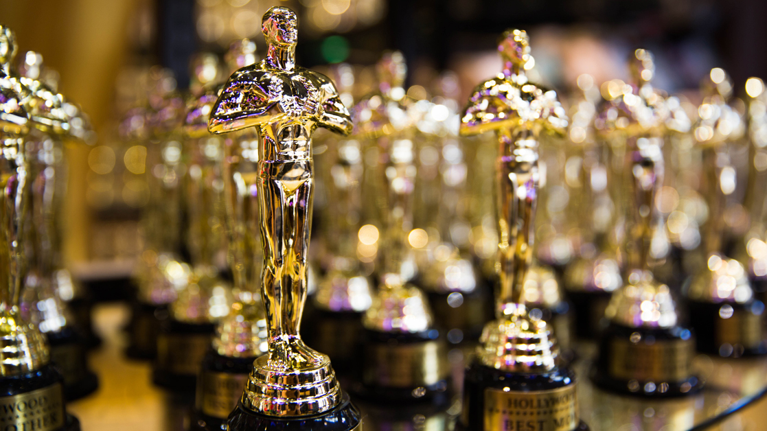 Group of golden Oscar-style awards