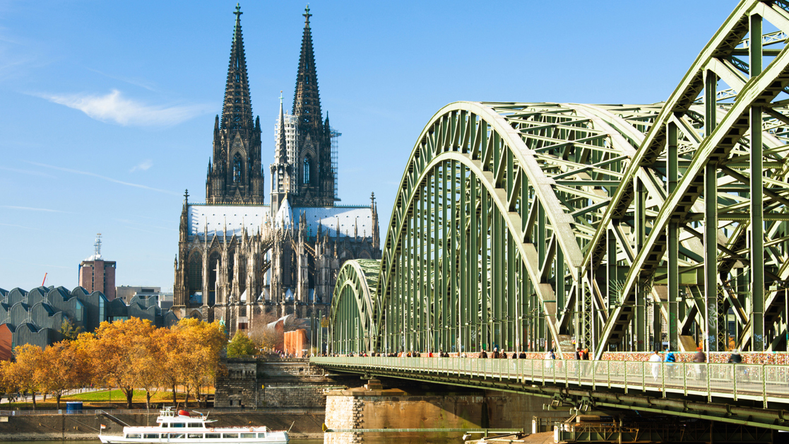 Day time view of the Cologne Cathedral and Hohenzollern Bridge