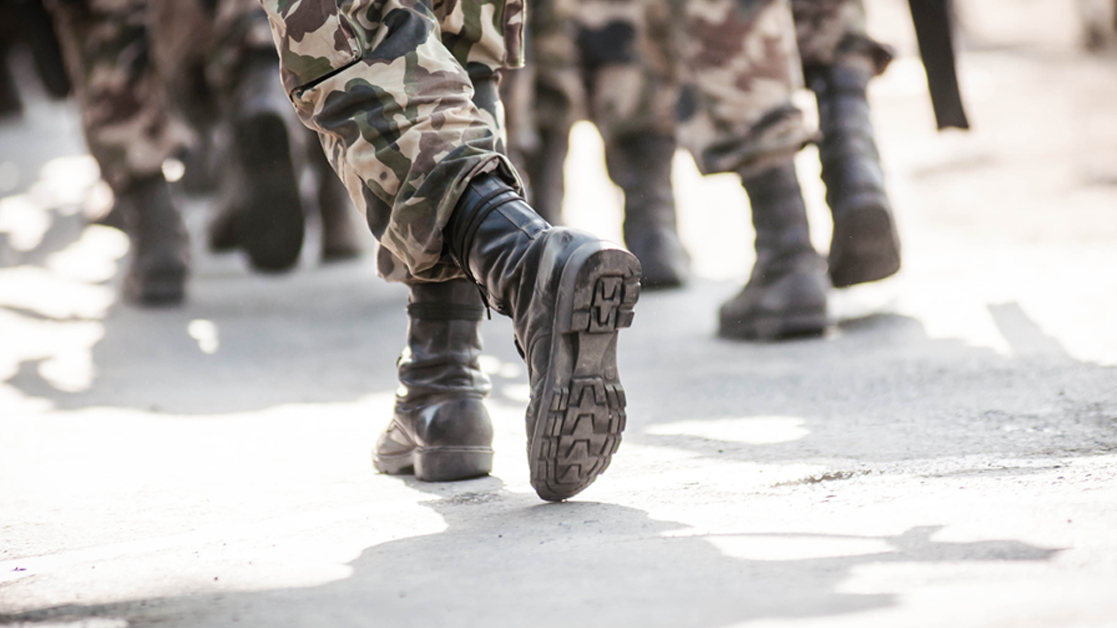 army boots marching