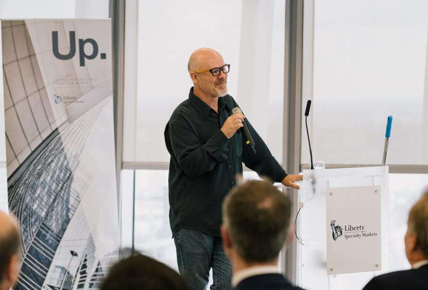 Thomas Dolby speaking at a Liberty Specialty Markets Unique Perspectives event in the London office