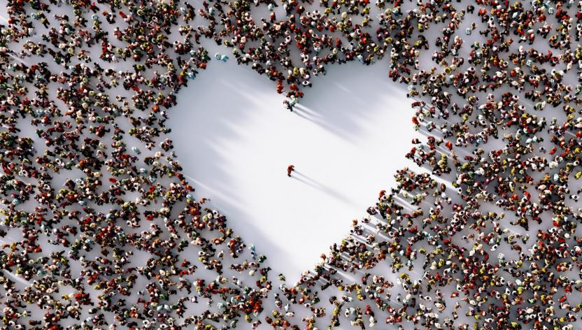 Heart created by people